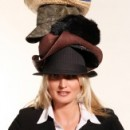 Woman with many hats on her head