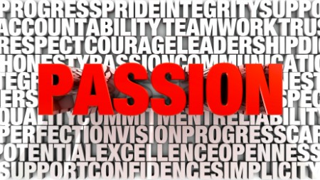 Big red word spelling passion